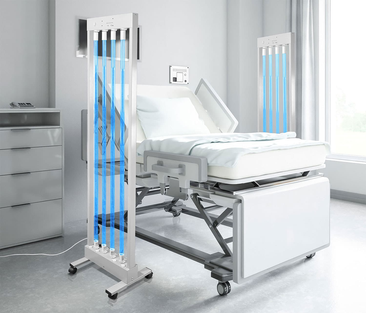 MUVI uv disinfection in patient room healthcare facility at hospital
