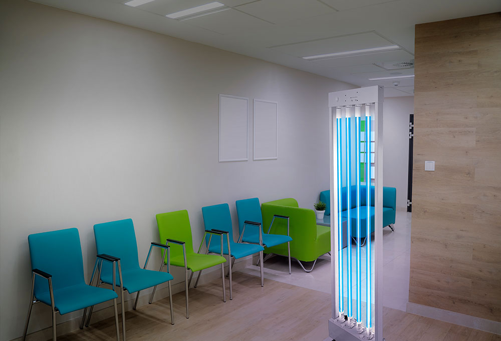 Clinic waiting room UV Disinfection with MUVi Disinfector
